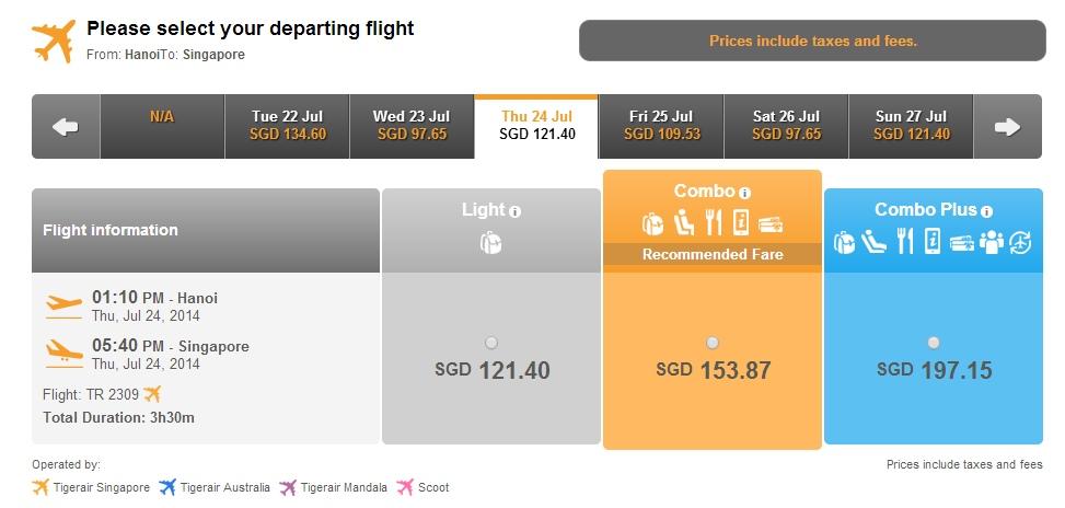Giá vé máy bay đi Singapore bao nhiêu tiền?