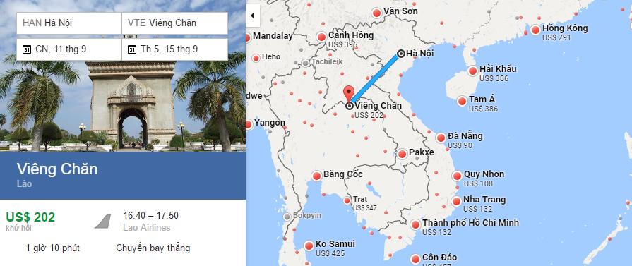 Bản đồ đường bay từ Hà Nội đi Viêng Chăn