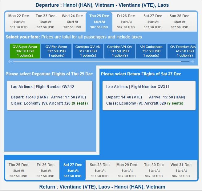 Vé máy bay đi Lào giá bao nhiêu tiền?