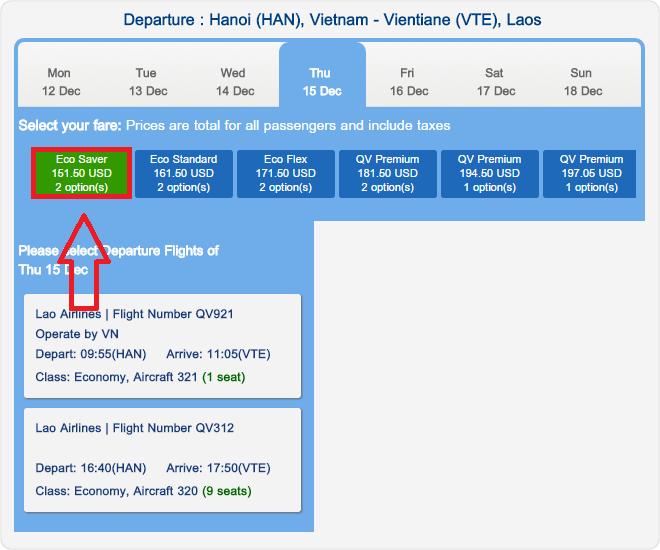 Giá vé Lao Air tham khảo chặng Hà Nội - Vientiane