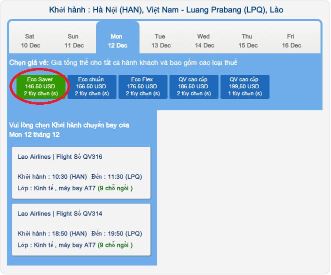 Bảng giá Lao Air chặng Hà Nội - Luang Prabang